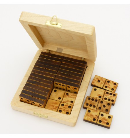 Double-Six Dominos in Walnut and Mappa with Maple Wood Case