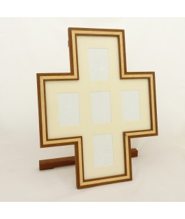 Cross-Design Desktop Picture Frame Holding Five Images