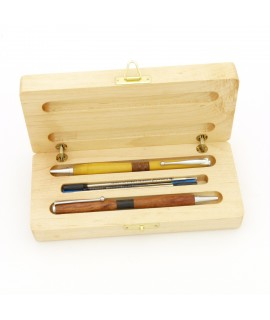 SlimlinePlus Ballpoint Pens in Osage Orage and Redwood Burl with Custom Maple Wood Case