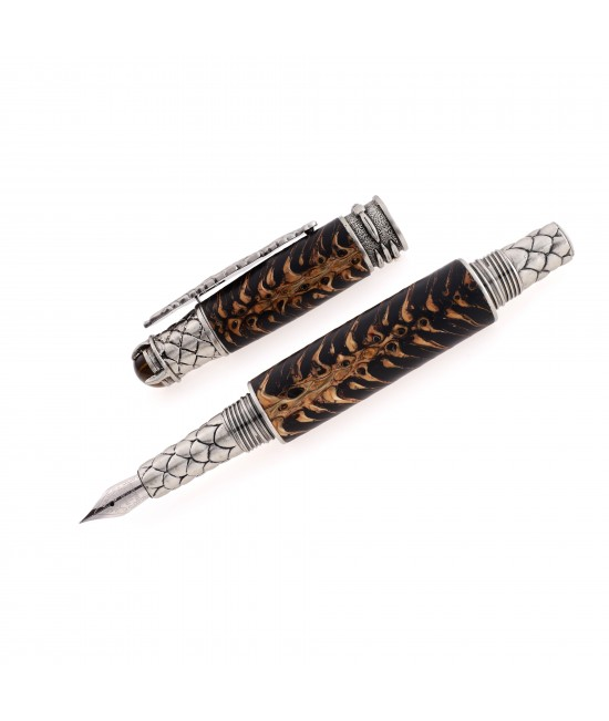 Dragon Style Fountain Pen in Spruce Cone and Black Resin