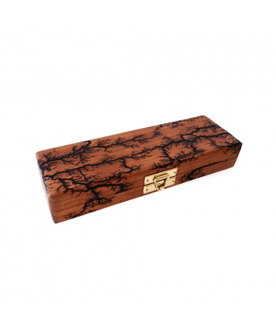 Double-Pen Wooden Pen Case in Cherry with Lichtenberg Burn Pattern