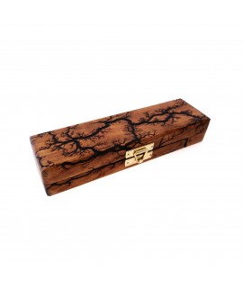 Single-Pen Wooden Pen Case in Cherry with Lichtenberg Burn Pattern