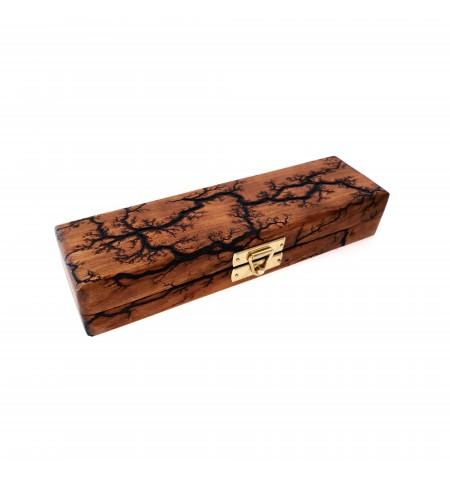 Single-Pen Wooden Pen Case in Cherry with Lichtenberg Burn Pattern