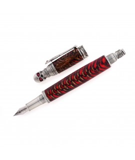 Skull Style Fountain Pen in Spruce Cone and Red Resin